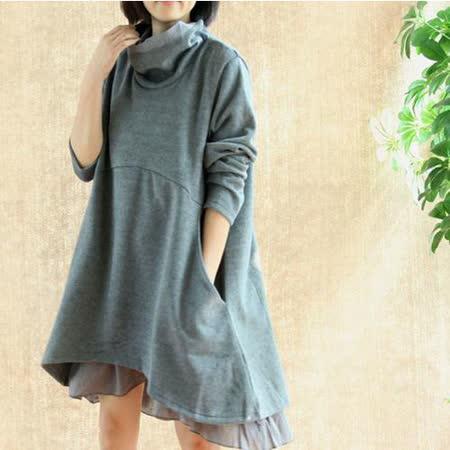 【Maya 名媛】 (s~xl)春秋綿毛長袖大翻領 假二件層次感到v裙擺寬鬆連衣裙-灰色
