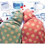 【PS Mall】韓國點點圖案兔耳造型保暖毛毯_同色2入(J017)