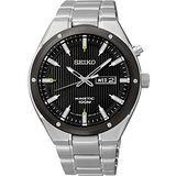 SEIKO Kinetic 極地傳說人動電能腕錶-黑x銀 5M83-0AB0D