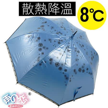 【日本雨之戀】獨家降溫8℃直自動傘-日羽織「寶藍內黑」陽傘/雨傘/降溫傘/晴雨傘/抗UV傘