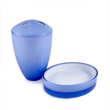 (兌)湛藍精緻牙刷架+肥皂架 組