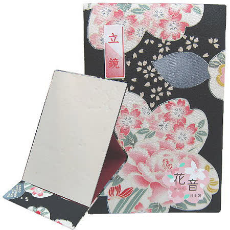 日本和風桌上鏡◇花音立鏡◇《黑底櫻花圖案》