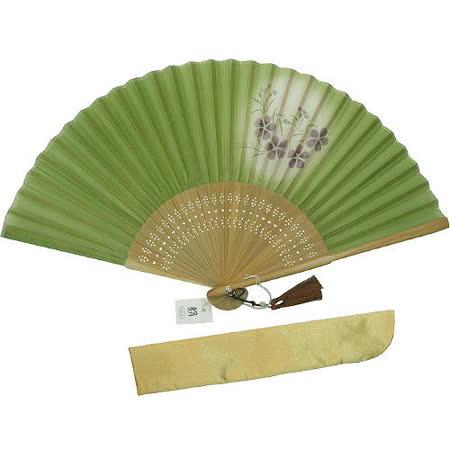 日本和風手拿扇子◇丁香花圖案◇《綠色底紫丁香花》