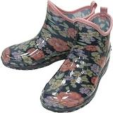 日本進口雨鞋◇短靴式造型◇《藍底花朵圖案》抗菌防水