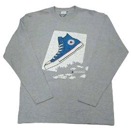 長袖T恤◇ CONVERSE ◇《灰色-帆布鞋圖案》