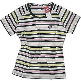 春夏短袖POLO衫◇K˙SWISS◇《白色底彩條紋》