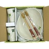 日系居家用品◇杯盤筷組◇《四葉幸運草》