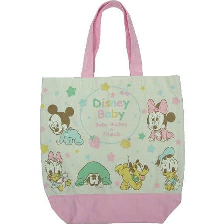 【波克貓哈日網】迪士尼帆布包肩包◇Baby米奇米妮◇《粉紅色》