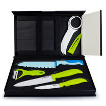 AKWATEX-陶瓷刀/削皮器/開罐器/彩色刀/刀架-6件組(AK-91467)