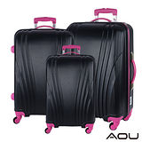 AOU微笑旅行 尊龍傳說 28吋24吋20吋 超大容量防刮超輕量行李箱(黑酷桃紅)90-015ABC