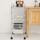 【ikloo】 可移式五層白色抽屜收納箱/收納盒