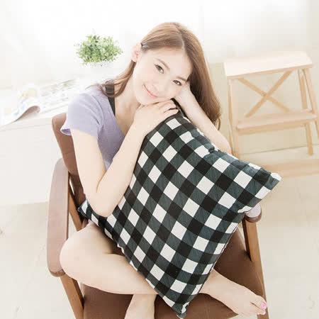 【奶油獅】格紋系列-台灣製造-100%精梳純棉方型抱枕布套-50*50專用(黑)