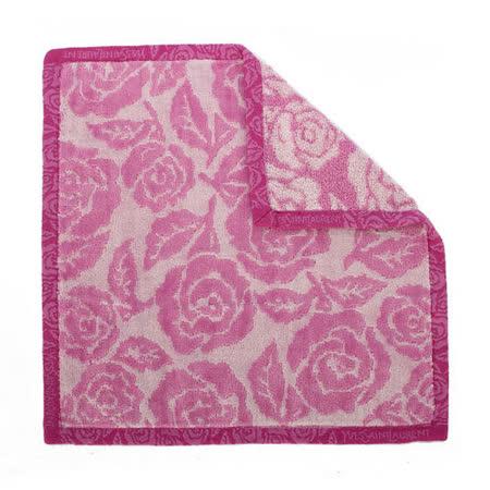 【網購】gohappyYSL 新款玫瑰花圖紋LOGO滾邊純棉方巾-紫紅色有效嗎統一 阪急