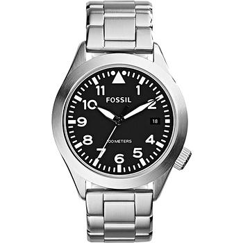 FOSSIL Aeroflite 大三針都會腕錶-黑x銀 AM4562