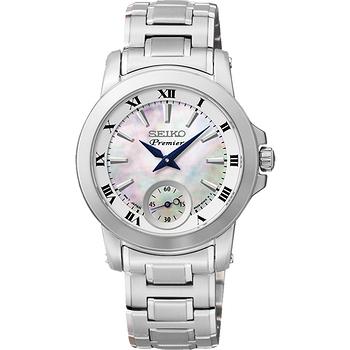 SEIKO Premier 羅馬之戀小秒針女錶-珍珠貝x銀 6G28-00T0S