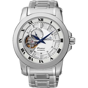 SEIKO Premier 心跳鏤空視窗機械腕錶-銀 4R39-00L0S