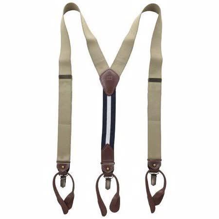 Tommy Hilfiger 2014男士卡其色彈性織帶吊帶褲夾【預購】
