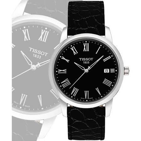 TISSOT CLASSIC DREAM 羅馬皮帶腕錶-黑 T0334101605301