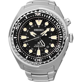 SEIKO Kinetic 怒海征服者潛水200米腕錶-黑x 銀 5M85-0AB0D
