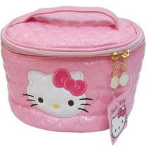 【波克貓哈日網】Hello kitty 凱蒂貓◇手提化妝包/箱◇《粉紅色桃心壓紋》