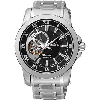 SEIKO Premier 心跳鏤空視窗機械腕錶-黑x銀 4R39-00L0D