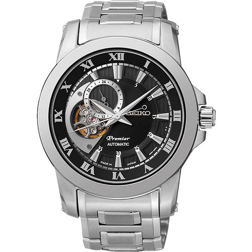 SEIKO Premier 心跳鏤空視窗機械腕錶~黑x銀 4R39~00L0D