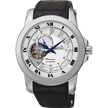 SEIKO Premier 心跳鏤空視窗機械腕錶-銀x黑 4R39-00L0J
