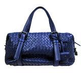 BOTTEGA VENETA 經典小羊皮編織雙側釦波士頓包(藍)
