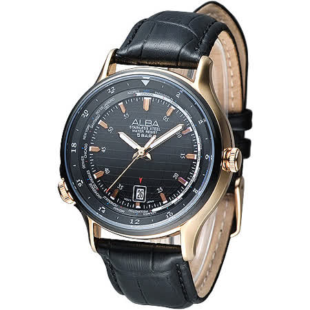 ALBA 優質型男世界時間GMT腕錶(AS9494X1)