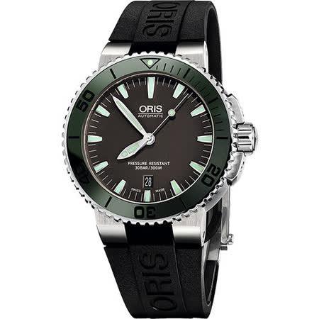 Oris Aquis 時間之海專業潛水機械腕錶-灰x綠框 0173376534137-0742634EB