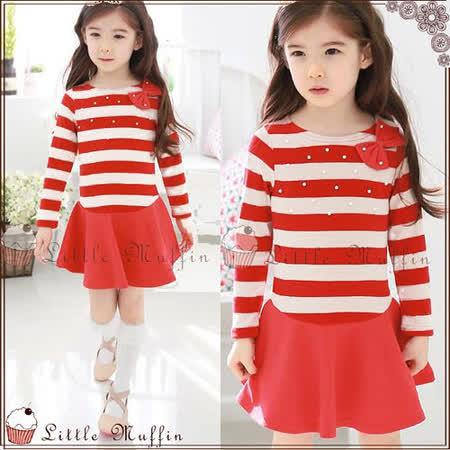 韓 紅白條紋假兩件式連身裙洋裝 100-140