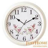 【Just Home】玫瑰復古壁鐘-白色款(台灣製造)