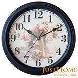 【Just Home】玫瑰復古壁鐘-黑色款(台灣製造)