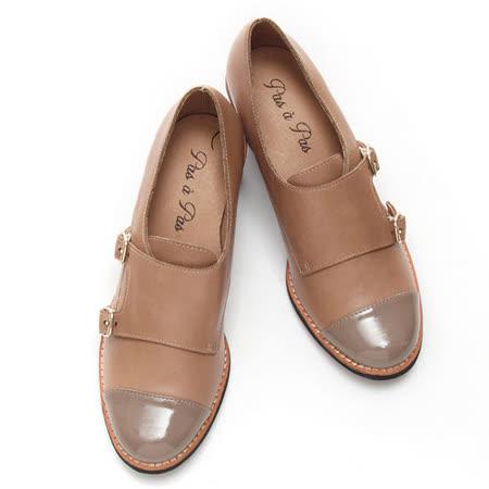【童鞋城堡】真皮雙釦拼接粗跟踝靴-米駝P2-14155L