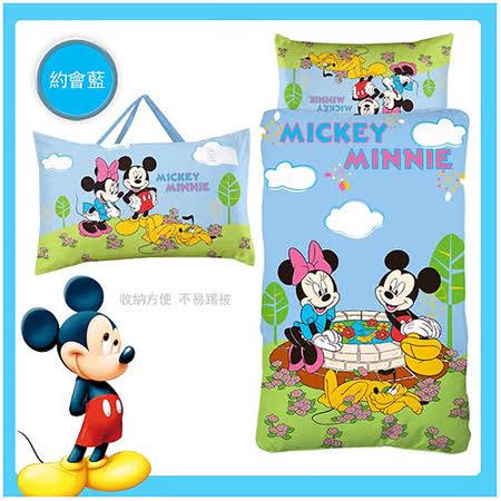 《Disney迪士尼》 米奇米妮幼教兒童睡袋-約會篇(粉藍)