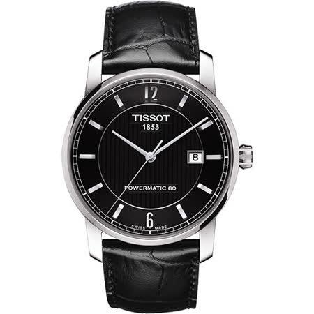TISSOT T-Classic Powermatic 80【鈦】機械腕錶-黑 T0874074605700
