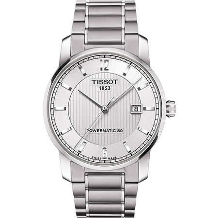 TISSOT T-Classic Powermatic 80【鈦】機械腕錶-銀 T0874074403700