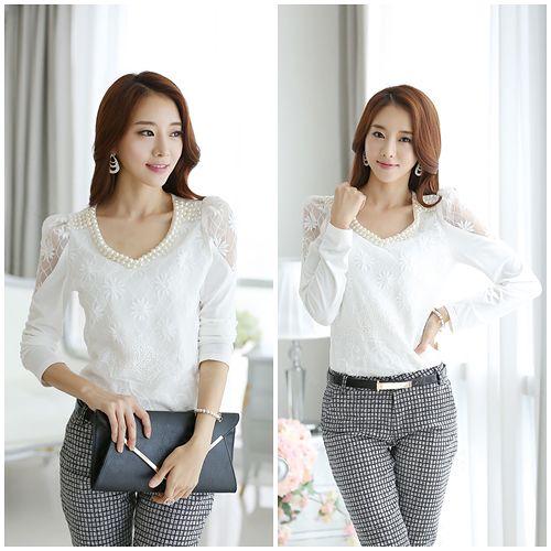 Kate❤Classic 韓國珍珠領露肩氣質蕾絲衫^(UB00294^)