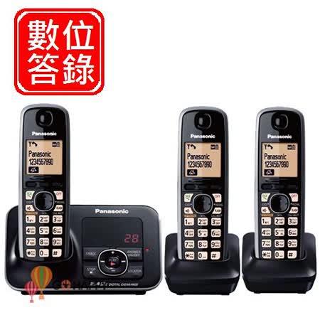 Panasonic 2.4GHz國際牌高頻數位答錄大字體無線電話 KX-TG3721+TGA371*2 / KX TG3723 (耀岩黑)