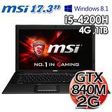 微星MSI GP70 2PE i5-4200H GT840M 2G獨顯 17.3吋Win8.1 遊戲機筆電