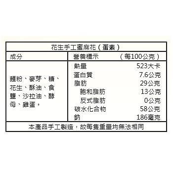 彰化名產【田中進發 手工蜜麻花】- 花生
