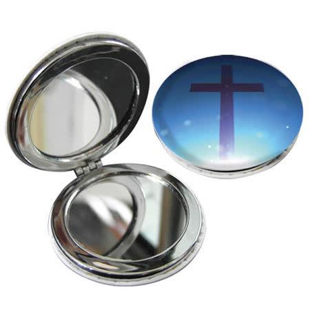 JB Design 隨身圓鏡-藍底紫十字架