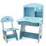 EMC 木質兒童升降成長書桌椅(藍)