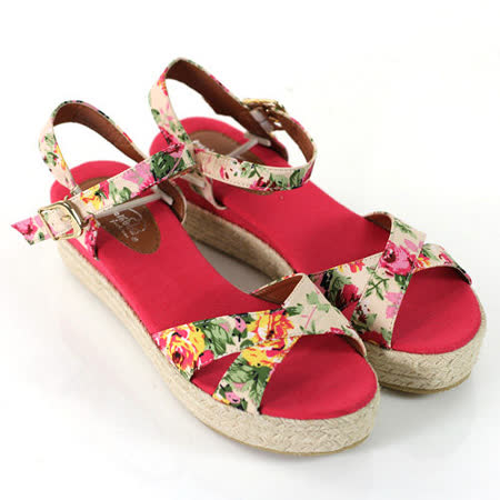 【Pretty】碎花魚口楔型厚底涼鞋-紅色