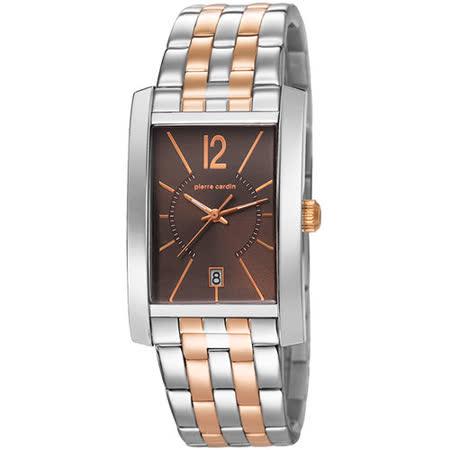 pierre cardin皮爾卡登 品味步調方型時尚腕錶-玫瑰金X咖啡
