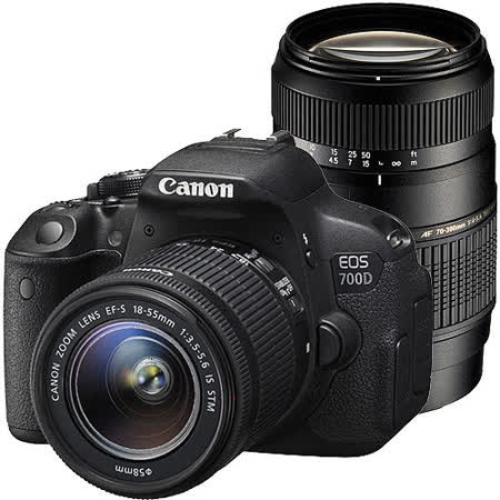 Canon EOS 700D+18-55mm+75-300mmIII*(中文平輸)-加送SD32G記憶卡+專用鋰電池+UV保護鏡*2+減壓背帶+強力大吹球+數位清潔液+拭鏡布+硬式保護貼