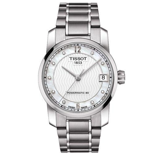 TISSOT T-Classic Powermatic 80 溫柔優雅鈦金屬真鑽機械腕錶(白/32mm) T0872074411600
