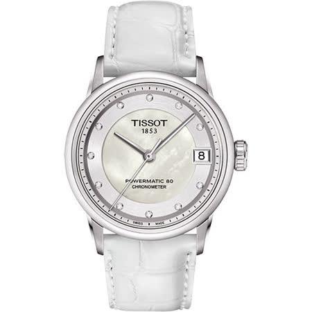 TISSOT LUXURY 動力儲存80小時 COSC真鑽機械腕錶-珍珠貝x白 T0862081611600