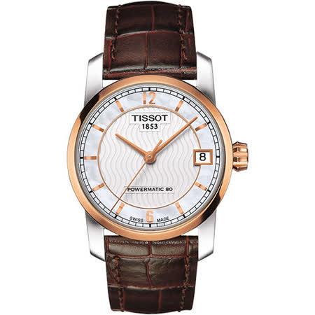 TISSOT T-Classic 【鈦】時尚機械女錶-珍珠貝x玫瑰金框 T0872075611700