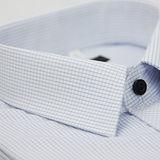 【金安德森】細藍格紋黑釦窄版短袖襯衫